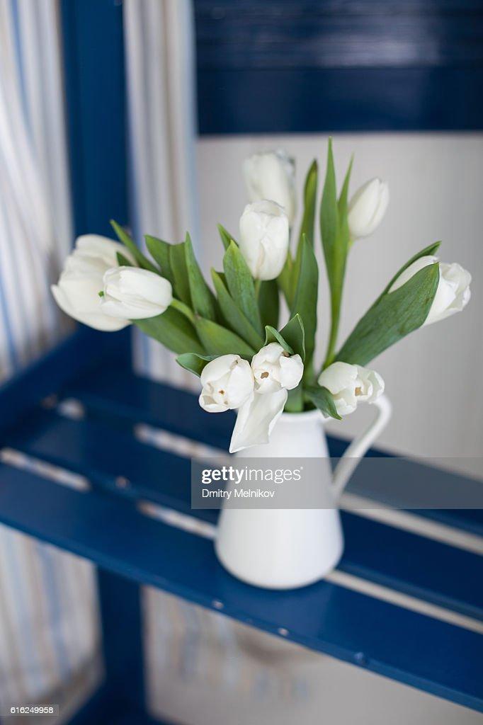 White tulips in a vase . : Stock Photo