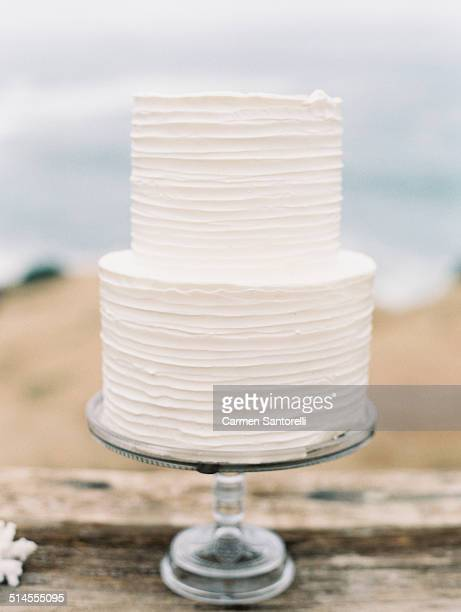 White Two Tier Wedding Cake