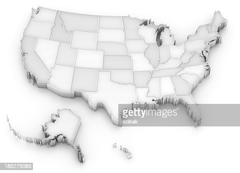 White USA map with states (also Alaska and Hawaii)