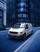 White van on city street (Digital Enhancement)