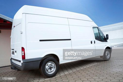 White Van on parking lot is waiting for next order