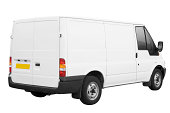 White Van Ready For Branding (With 3 Paths)