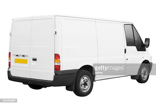 White van ready for branding isolated on white with path