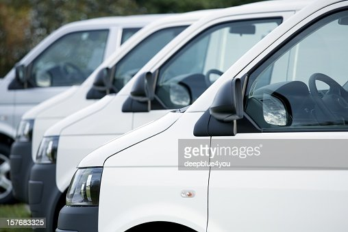 White vans in a row