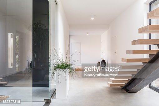 White villa interior with staircase : Stock Photo