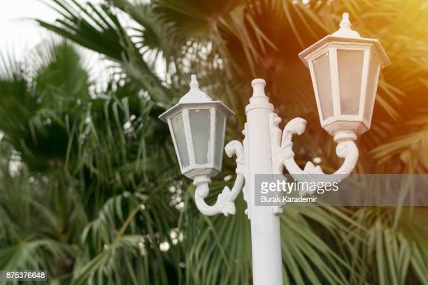 White vintage double street lamp