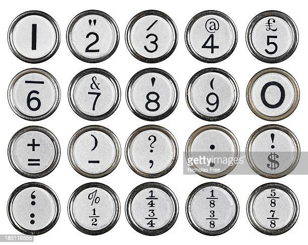 White Vintage Typewriter Number Keys
