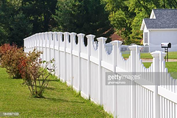 White vinyl fence