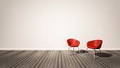 white wall and dark wood floor, with red chairs, 3d renderd