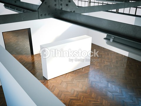 Wei e wand in modernen museum 3drendering stock foto - Flecken weisse wand entfernen ...