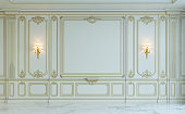 White wall panels in classical style with gilding and sconces. 3d rendering