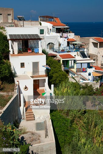 White washed homes of the island of Lipari : Stock Photo