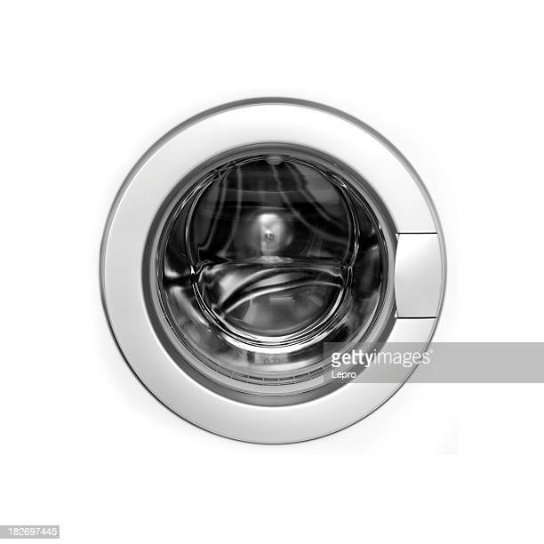 White washing machine door on black background