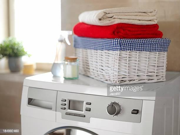 White washing machine in the bathroom