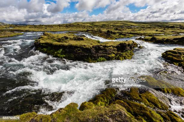 White water and rock formations in remote river