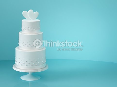 white wedding cake with two hearts ストックフォト thinkstock