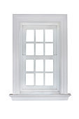 white window frame isolated on white background with clipping path.