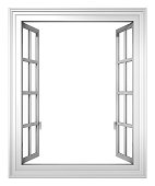 White window open isolated on a white background.Could be a useful element in a composition.This is a detailed 3d rendering.