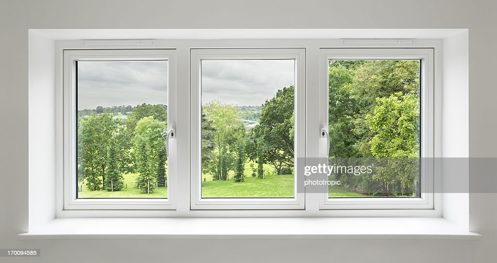 white windows with garden view stock photo getty images