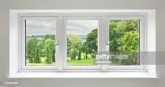 white windows with garden view