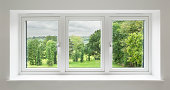 white windows with garden view