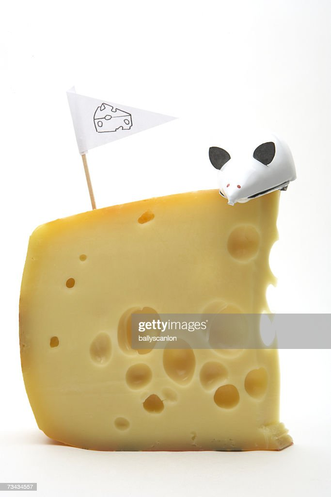 White wind-up mouse on swiss cheese next to cheese flag