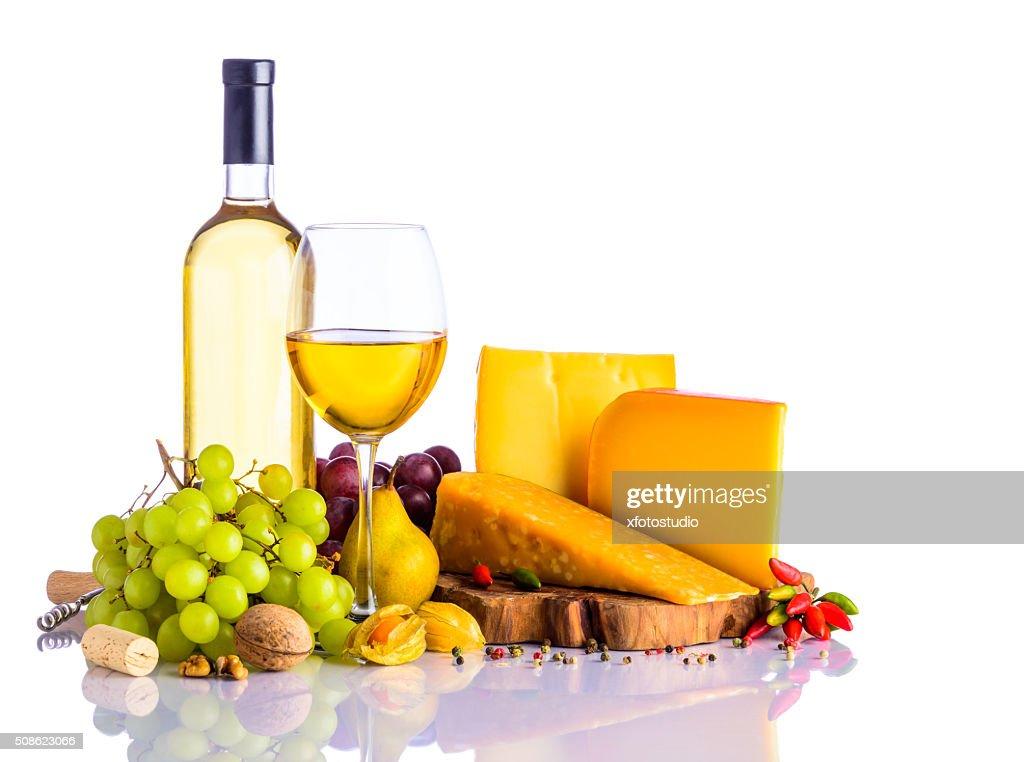 White wine and Hard Cheese : Stock Photo