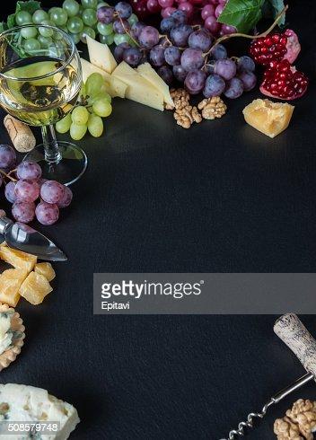 White wine and snacks : Stock Photo