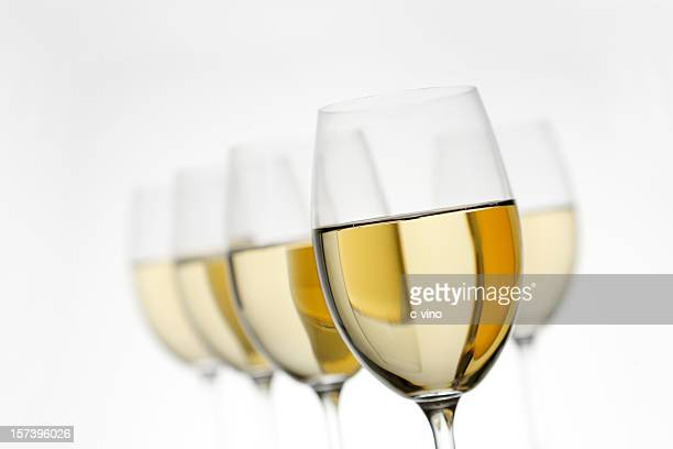 White wine glasses fading on a white background