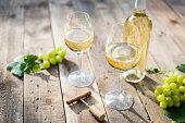 White wine on summer day outdoor
