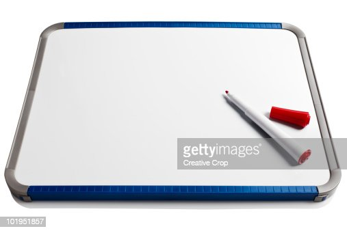 White wipe board with red marker : Stock Photo
