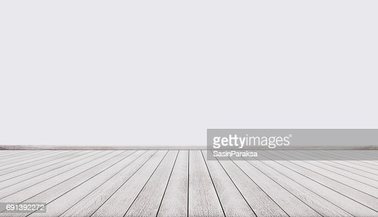 White wood floor with white wall, interior empty space : Stock Photo