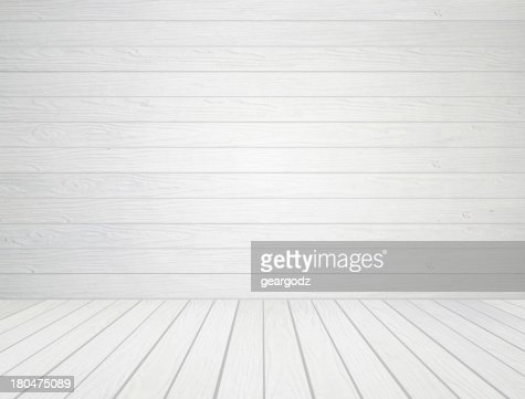 white wood wall and floor background : Stock Photo