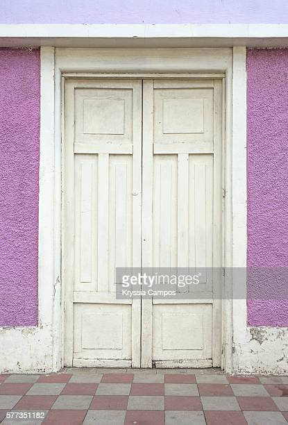 White Wooden Door at colonial House in Granada City - Nicaragua
