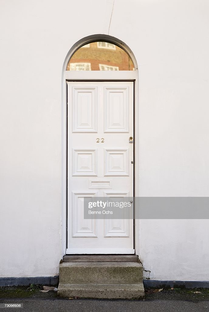 White wooden door of a house
