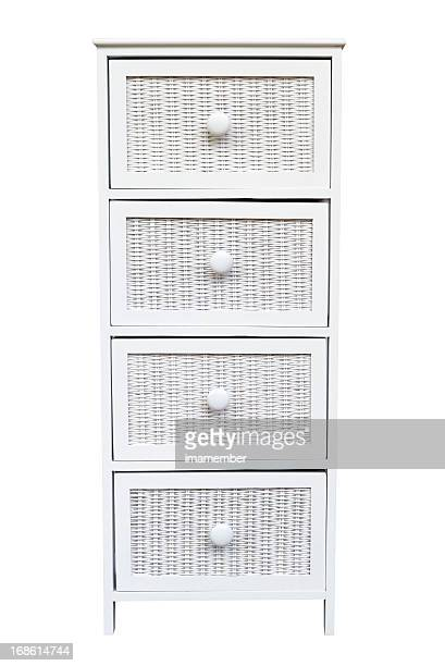 White woven cabinet with drawers isolated on white background