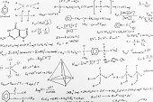 Whiteboard of written complex chemistry work
