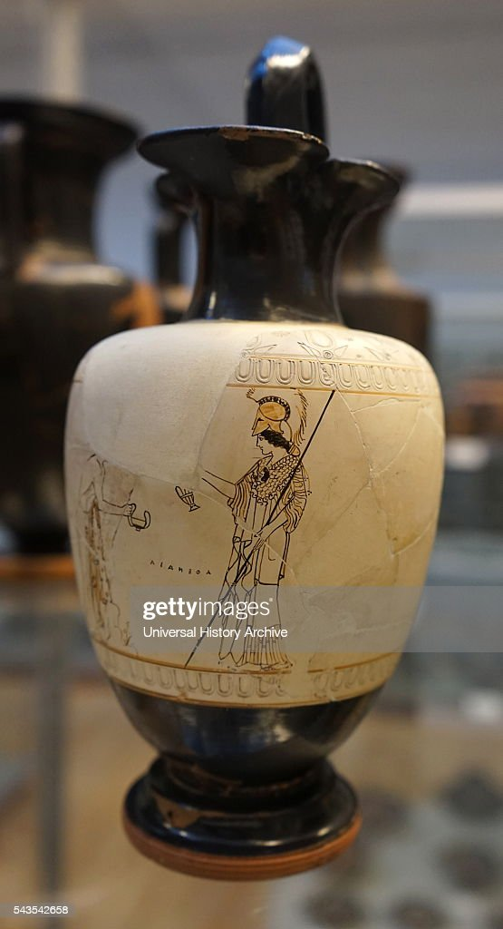 Whiteground jug depicting Athena Dated 4th Century BC