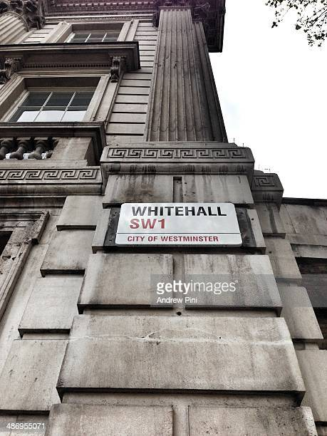 Whitehall road that connects the Houses of Parliament with with the official residence of the Prime Minister at 10 Downing Street London UK