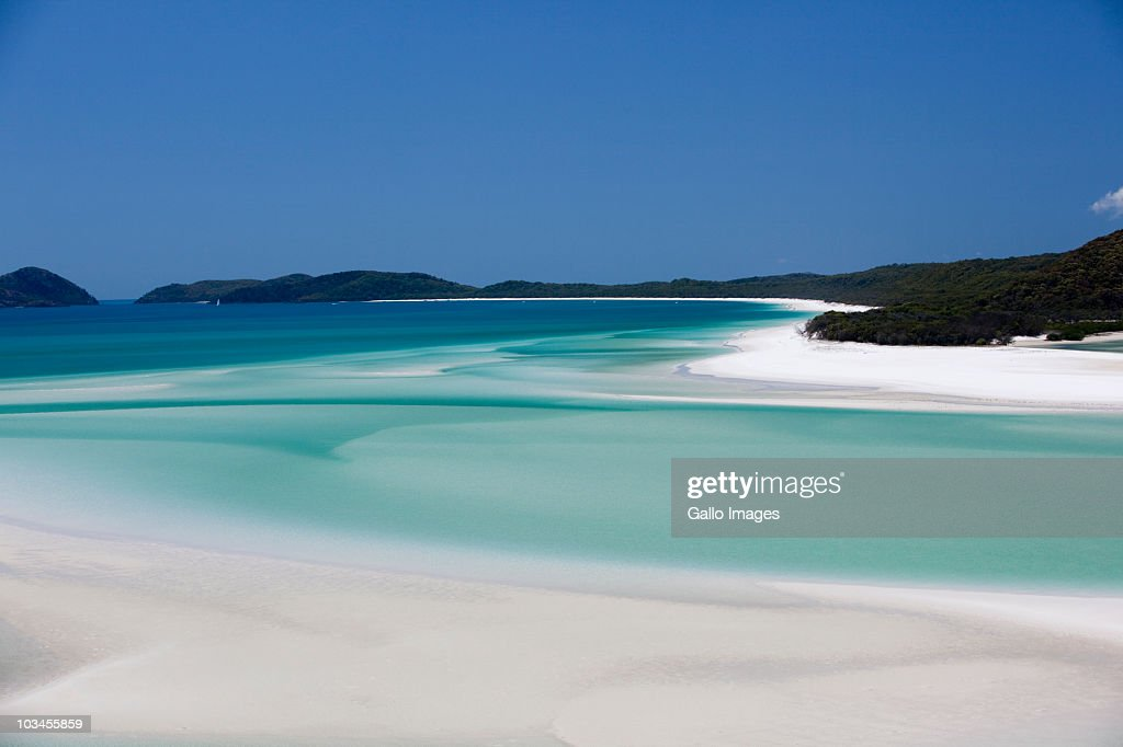 Whitehaven Beach, Hill Inlet, Tounge Point, Whitsunday Island, Whitsunday Islands, Queensland, Australia : Stock Photo