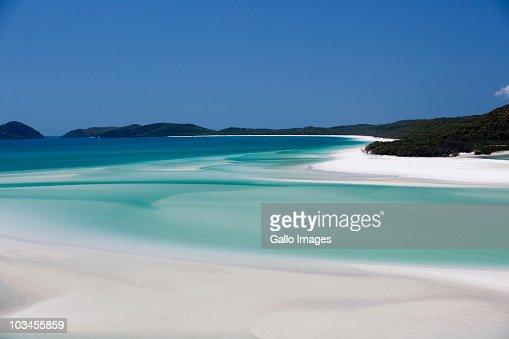 Whitehaven Beach, Hill Inlet, Tounge Point, Whitsunday Island, Whitsunday Islands, Queensland, Australia : Stock Photo