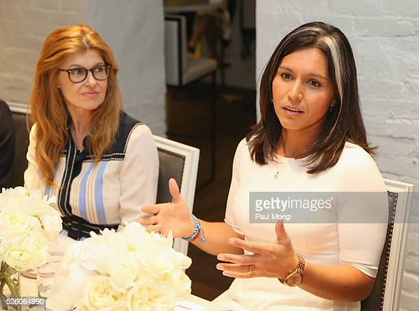 Whitehouse Communications Director Jen Psaki and Congresswoman Tulsi Gabbard attend the Glamour and Facebook brunch to discuss sexism in 2016 during...