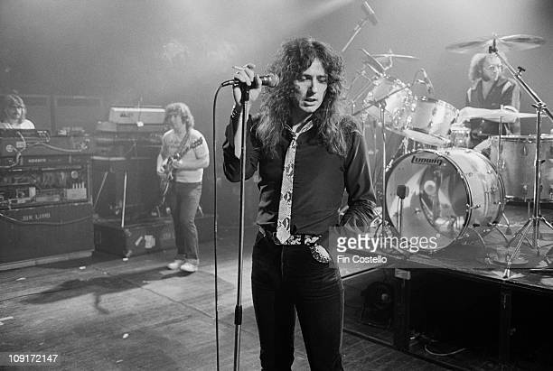 Whitesnake perform live on stage at the Rainbow Theatre in Finsbury Park London in March 1981 LR Jon Lord Bernie Marsden David Coverdale Ian Paice