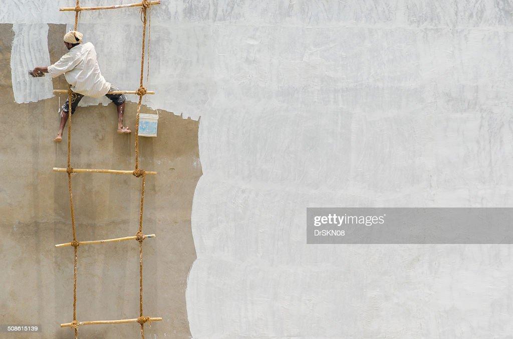 Whitewash of the wall : Stock Photo