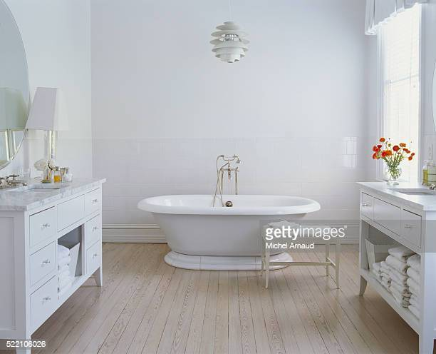 Whitewashed Bathroom with Bleached Wood Flor
