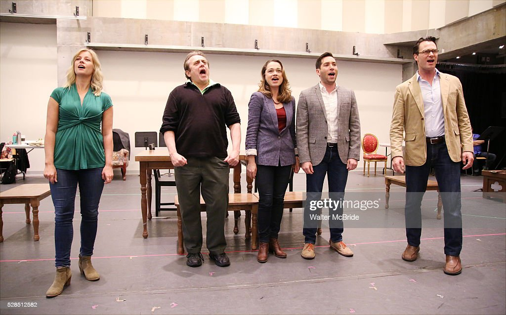 Whitney Bashor, Michael McCormick, Lianne Marie Dobbs, Zachary Prince and Matt Bogart during the 'Himself and Nora The Musical' - Press Preview at the Signature Theatre Rehearsal Studios on May 5, 2016 in New York City.