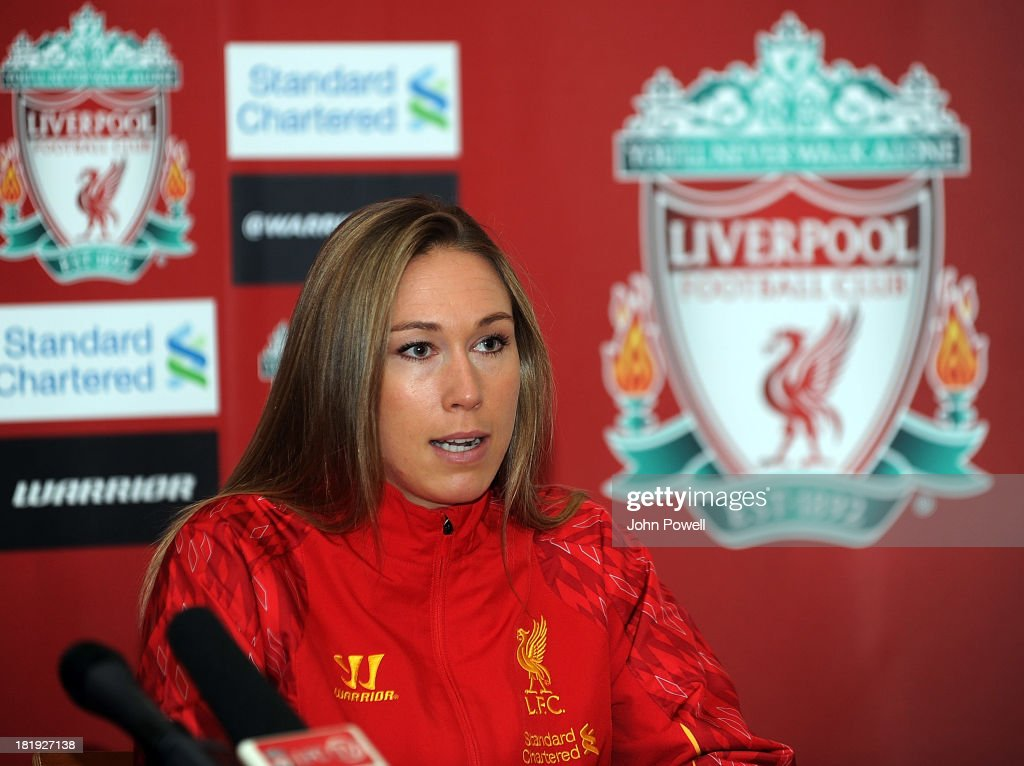 Whitney Engen Liverpool FC Ladies Player appears at a Press Conference at Melwood Training Ground on September 26, 2013 in Liverpool, England.