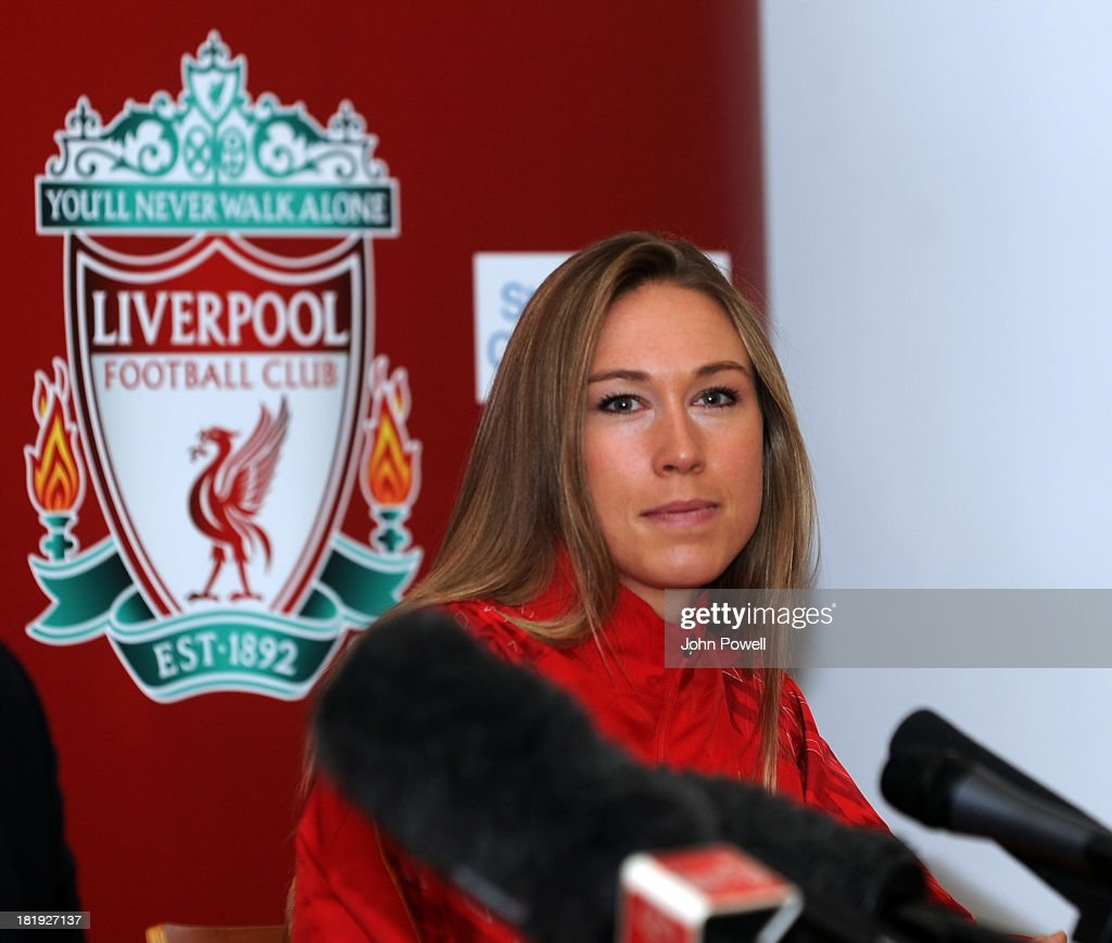Whitney Engen Liverpool FC Ladies Player appears at a Press Conferenceat Melwood Training Ground on September 26, 2013 in Liverpool, England.