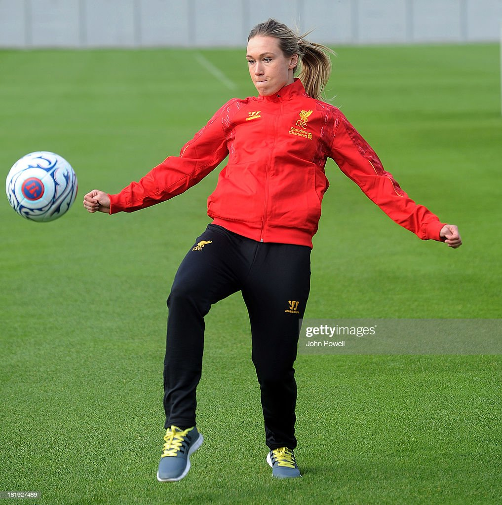 Whitney Engen of Liverpool FC Ladies attends a training sesssion at Melwood Training Ground on September 26, 2013 in Liverpool, England.