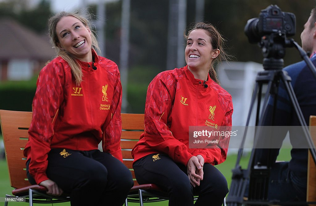 <a gi-track='captionPersonalityLinkClicked' href=/galleries/search?phrase=Whitney+Engen&family=editorial&specificpeople=7489472 ng-click='$event.stopPropagation()'>Whitney Engen</a> (L) of Liverpool FC Ladies with Amanda DaCosta of Liverpool FC Ladies attend a training session at Melwood Training Ground on September 26, 2013 in Liverpool, England.